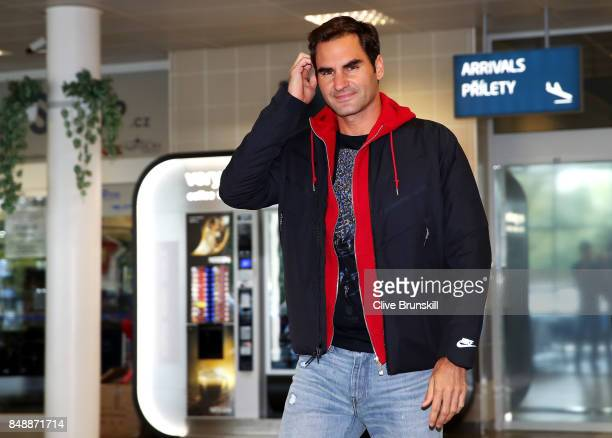 Roger Federer of Switzerland arrives at Vaclav Havel Airport Prague ahead of the Laver Cup on September 18 2017 in Prague Czech Republic The Laver...