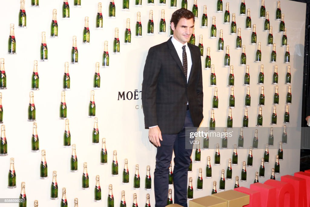 Roger Federer of Switzerland attends a Moet & Chandon activity ahead of the 2017 ATP 1000 Shanghai Rolex Masters on October 7, 2017 in Shanghai, China.