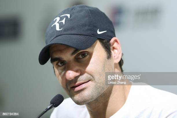 Roger Federer of Switzerland attends a press conference after winning the Men's singles match second round against Diego Schwartzman of Argentina on...