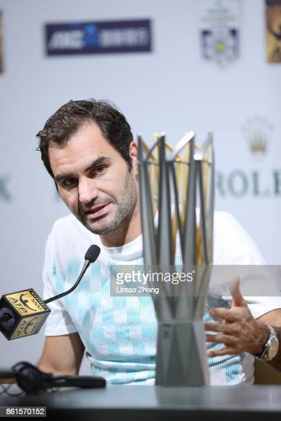 Roger Federer of Switzerland attends a press conference after winning the Men's singles final mach against Rafael Nadal of Spain on day eight of 2017...