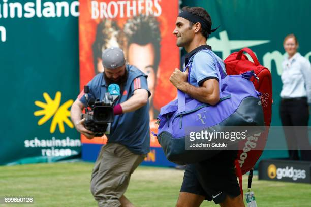 Roger Federer of Switzerland before the men's singles match against Mischa Zverev of Germany on Day 6 of the Gerry Weber Open 2017 at Gerry Weber...