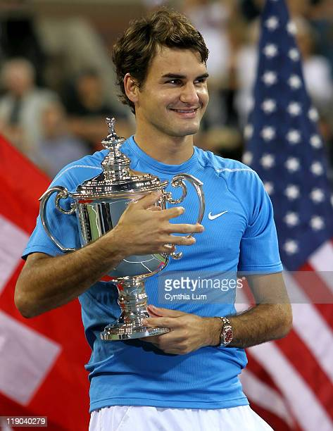 Roger Federer of Switzerland captures the 2006 US Open title defeating Andy Roddick of the USA 62 46 77 61 at The USTA Billie Jean King Tennis Center...