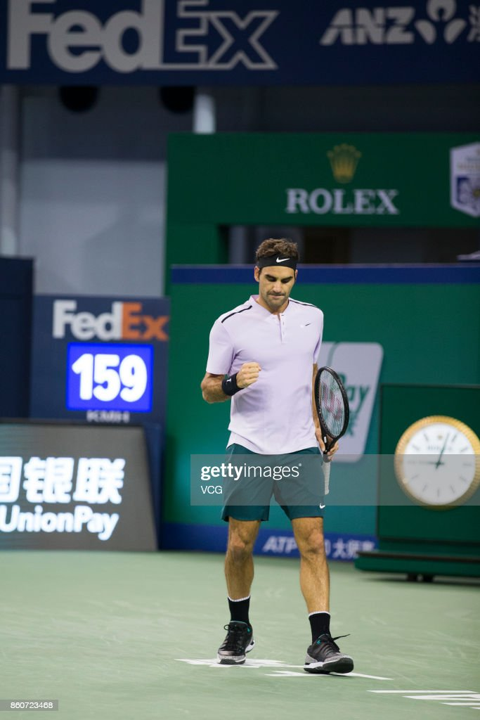 Roger Federer of Switzerland celebrates a point against Alexandr Dolgopolov of Ukraine in the Men's singles third round match on day 5 of 2017 ATP Shanghai Rolex Masters at Qizhong Stadium on October 12, 2017 in Shanghai, China.