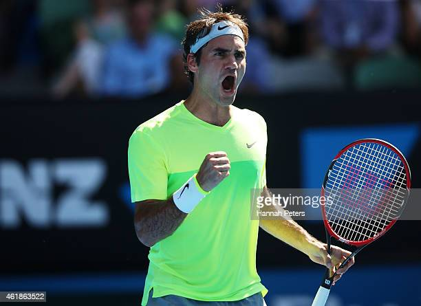 Roger Federer of Switzerland celebrates a point in his second round match against Simone Bolelli of Italy during day three of the 2015 Australian...