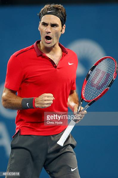 Roger Federer of Switzerland celebrates a point in the Mens final match against Milos Raonic of Canada during day eight of the 2015 Brisbane...