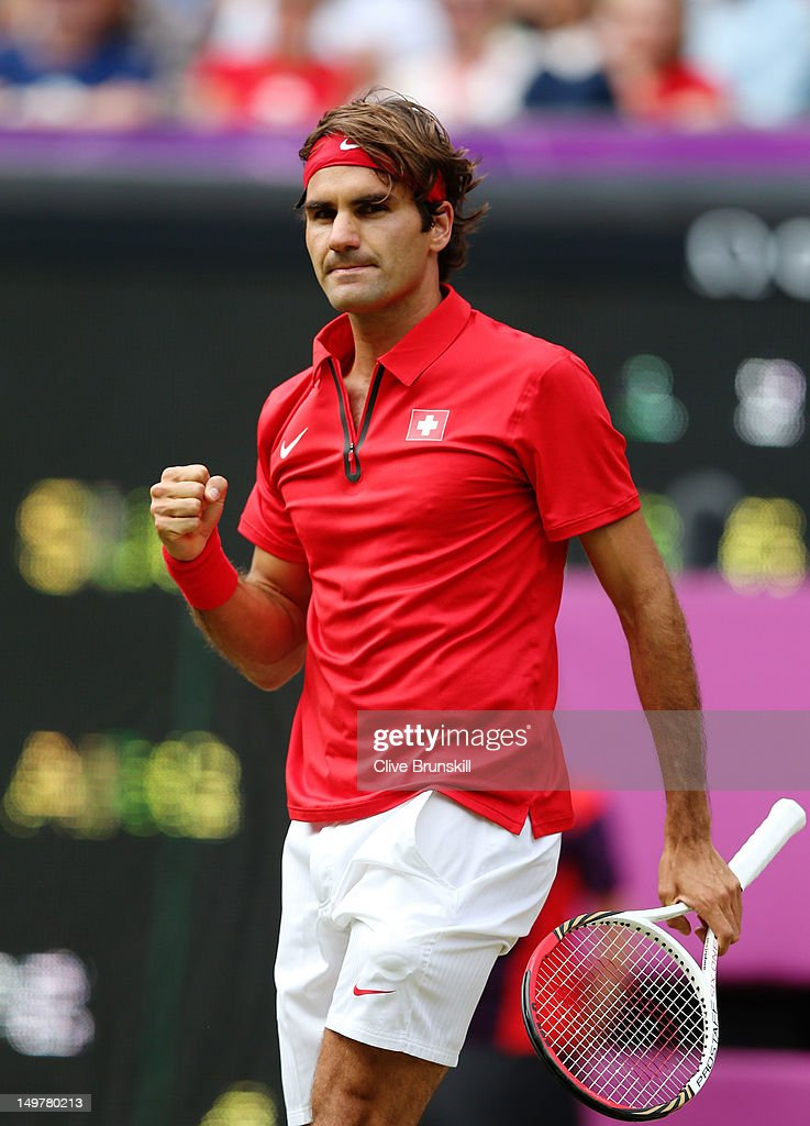 <a gi-track='captionPersonalityLinkClicked' href=/galleries/search?phrase=Roger+Federer&family=editorial&specificpeople=157480 ng-click='$event.stopPropagation()'>Roger Federer</a> of Switzerland celebrates a set point against Juan Martin Del Potro of Argentina in the Semifinal of Men's Singles Tennis on Day 7 of the London 2012 Olympic Games at Wimbledon on August 3, 2012 in London, England.