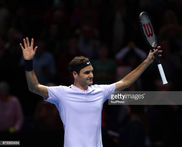 Roger Federer of Switzerland celebrates after beating Marin Cilic of Croatia 2 sets 1 during Day five of the Nitto ATP World Tour Finals played at...
