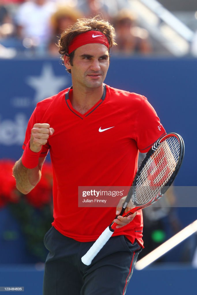 <a gi-track='captionPersonalityLinkClicked' href=/galleries/search?phrase=Roger+Federer&family=editorial&specificpeople=157480 ng-click='$event.stopPropagation()'>Roger Federer</a> of Switzerland celebrates after defeating Marin Cilic of Croatia during Day Six of the 2011 US Open at the USTA Billie Jean King National Tennis Center on September 3, 2011 in the Flushing neighborhood of the Queens borough of New York City.