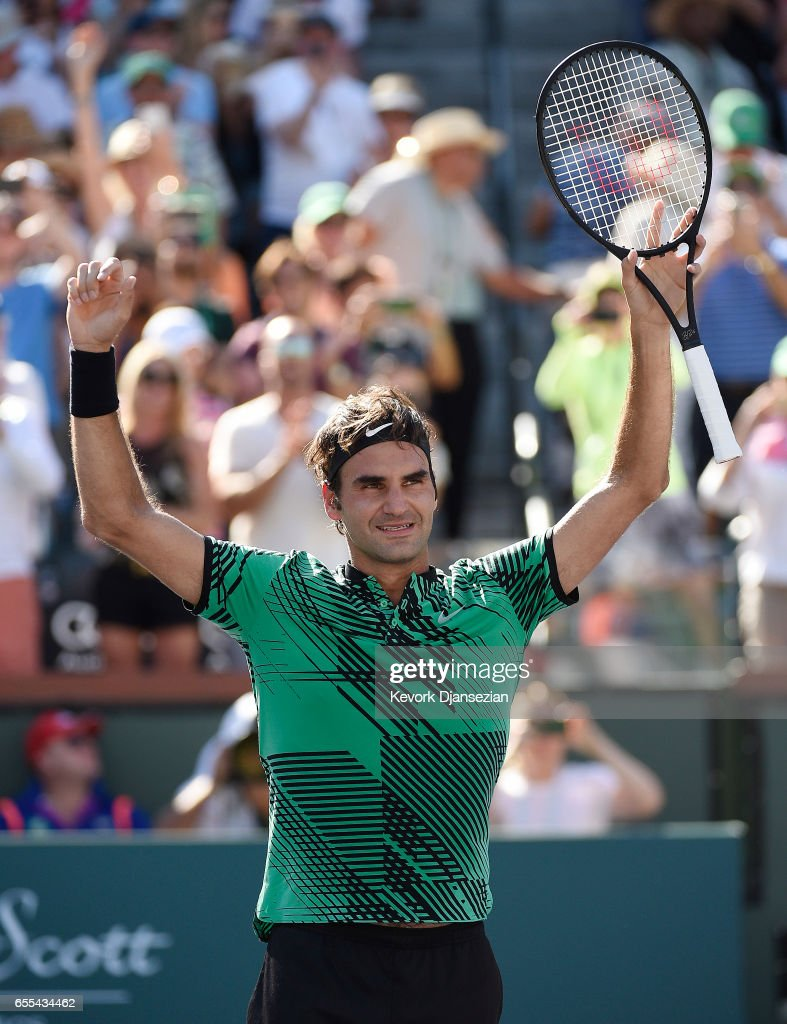 Roger Federer of Switzerland celebrates after defeating Stanislas Wawrinka of Switzerland in the mens final during day fourteen of the BNP Paribas Open at Indian Wells Tennis Garden on March 19, 2017 in Indian Wells, California.