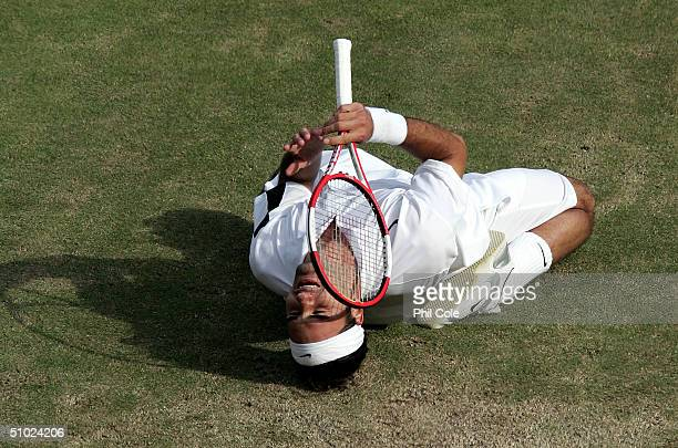 Roger Federer of Switzerland celebrates after he won the men's singles final match against Andy Roddick of USA at the Wimbledon Lawn Tennis...