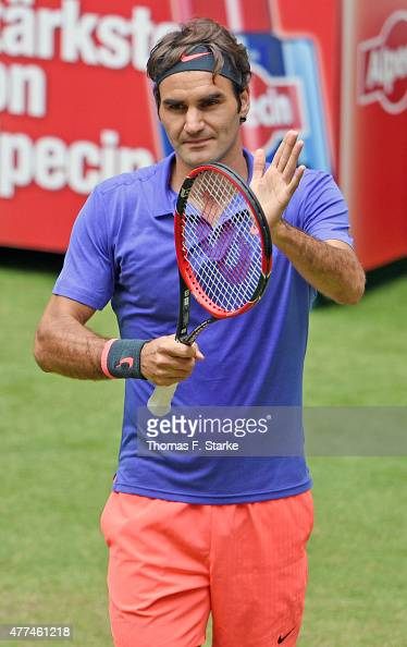 Roger Federer of Switzerland celebrates after winning his match against Ernests Gulbis of Latvia during day three of the Gerry Weber Open at Gerry...