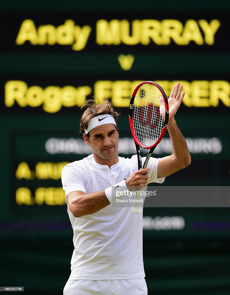 Roger Federer of Switzerland celebrates after winning the Gentlemens Singles Semi Final match against Andy Murray of Great Britain during day eleven of the Wimbledon Lawn Tennis Championships at the All England Lawn Tennis and Croquet Club on July 10, 2015 in London, England.