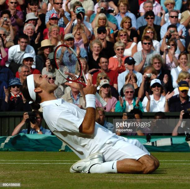 Roger Federer of Switzerland celebrates after winning the mens singles final match against Andy Roddick of the United States during the Wimbledon...