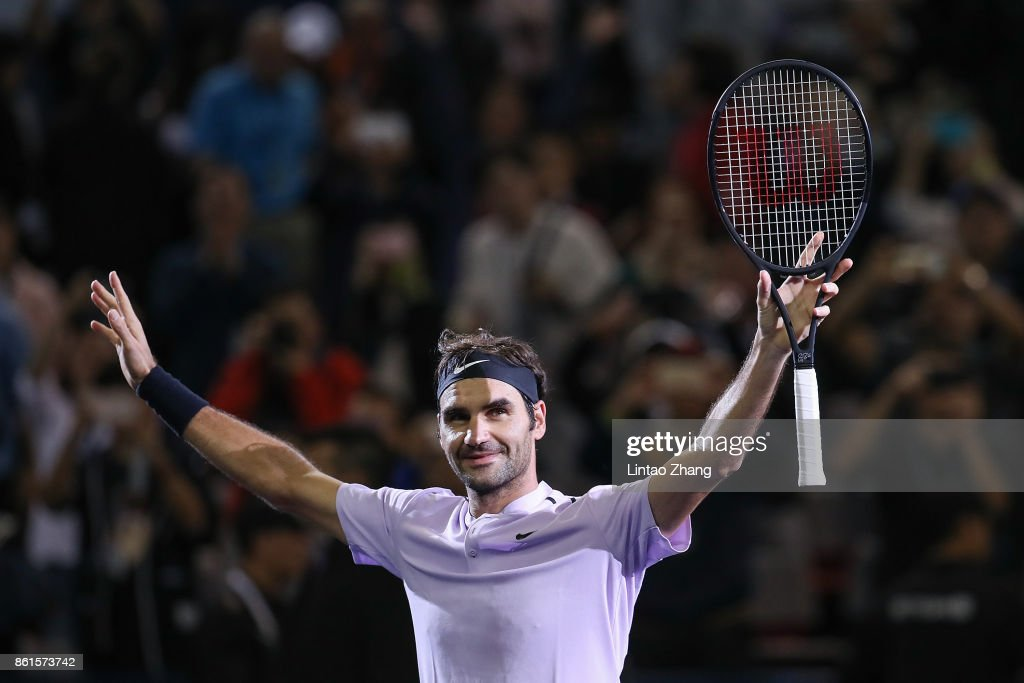 Roger Federer of Switzerland celebrates after winning the Men's singles final mach against Rafael Nadal of Spain on day eight of 2017 ATP Shanghai Rolex Masters at Qizhong Stadium on October 15, 2017 in Shanghai, China.