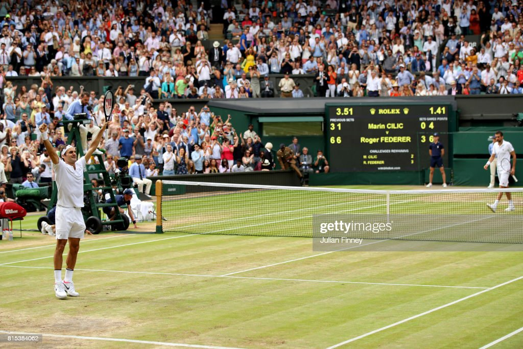Roger Federer of Switzerland celebrates championship point and victory during the Gentlemen's Singles final against Marin Cilic of Croatia on day thirteen of the Wimbledon Lawn Tennis Championships at the All England Lawn Tennis and Croquet Club at Wimbledon on July 16, 2017 in London, England.