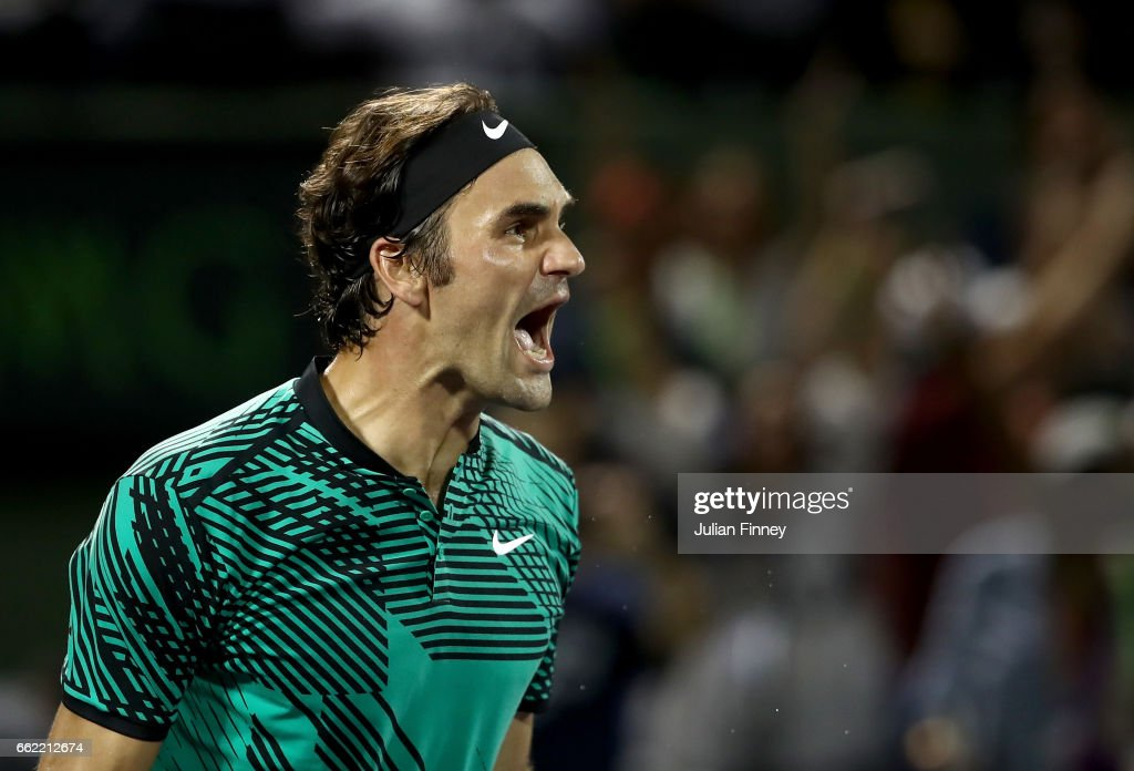 Roger Federer of Switzerland celebrates defeating Nick Kyrgios of Australia in the semi finals at Crandon Park Tennis Center on March 31, 2017 in Key Biscayne, Florida.
