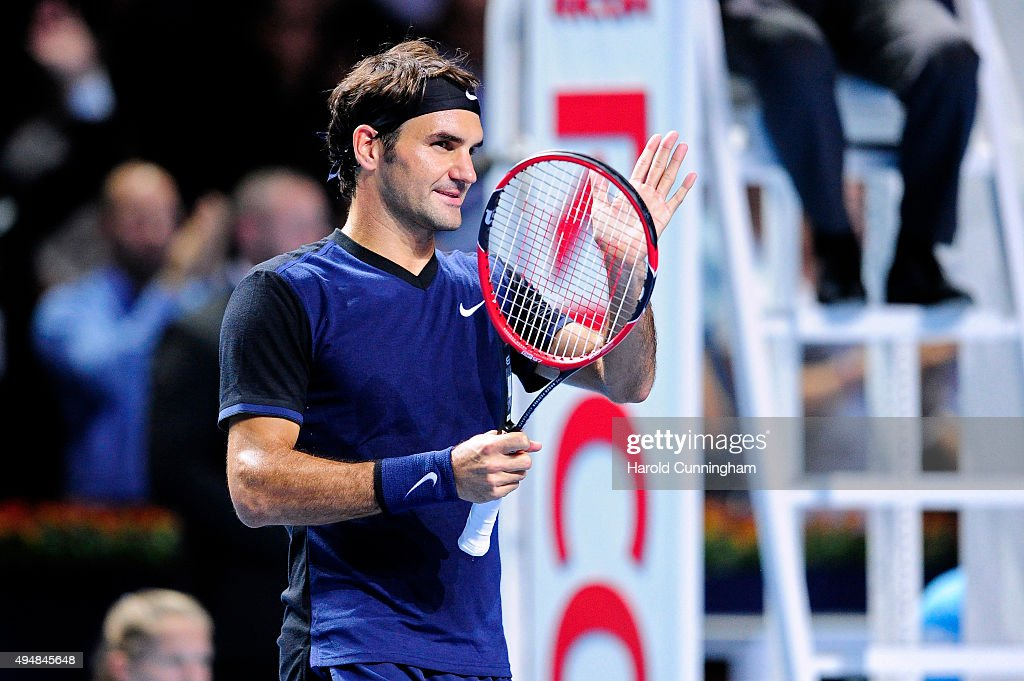 Roger Federer of Switzerland celebrates his victory after the fourth day of the Swiss Indoors ATP 500 tennis tournament against Philipp Kohlschreiber of Germany at St Jakobshalle on October 29, 2015 in Basel, Switzerland.