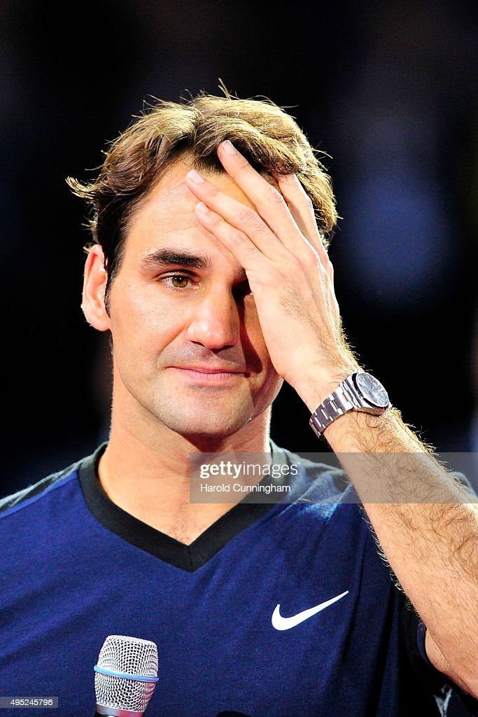 Roger Federer of Switzerland celebrates his victory after the Swiss Indoors ATP 500 Final against Rafael Nadal of Spain at St Jakobshalle on November 1, 2015 in Basel, Switzerland
