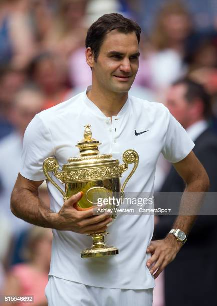 Roger Federer of Switzerland celebrates his victory against Marin Cilic of Croatia in their Gentlemen's Singles Final at Wimbledon on July 16 2017 in...