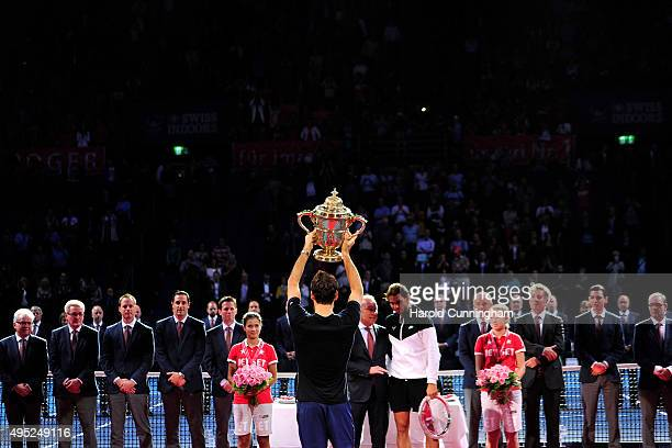 Roger Federer of Switzerland celebrates his victory during the final match of the Swiss Indoors ATP 500 tennis tournament against Rafael Nadal of...
