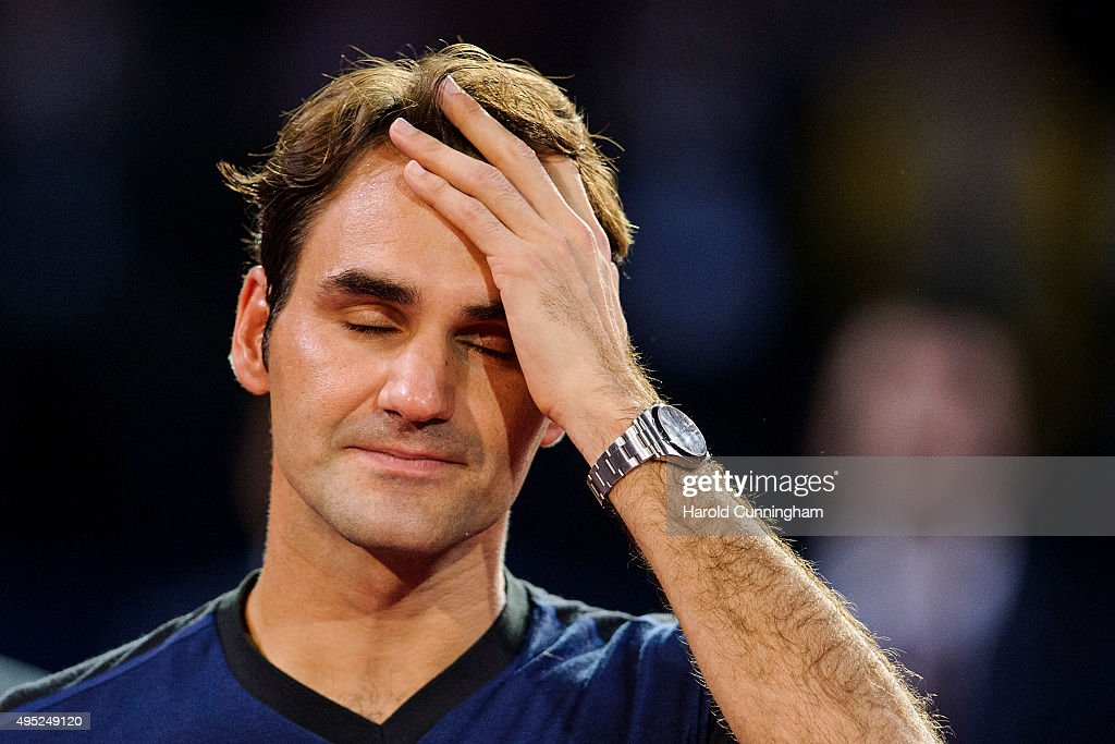 Roger Federer of Switzerland celebrates his victory during the final match of the Swiss Indoors ATP 500 tennis tournament against Rafael Nadal of Spain at St Jakobshalle on November 1, 2015 in Basel, Switzerland