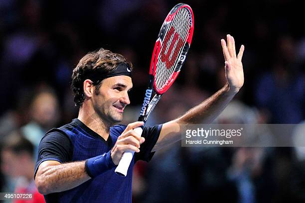 Roger Federer of Switzerland celebrates his victory following the sixth day of the Swiss Indoors ATP 500 tennis tournament against Jack Sock of US at...