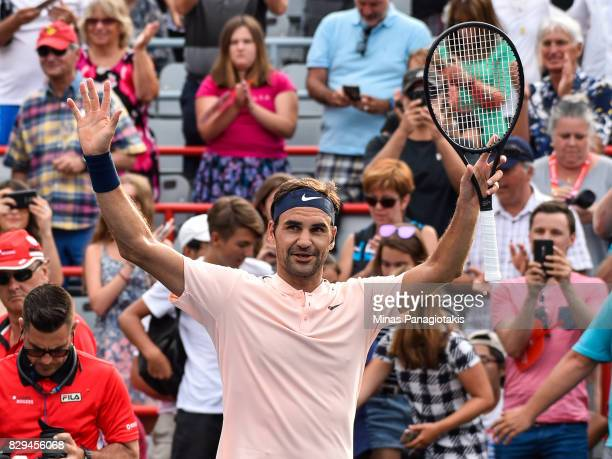 Roger Federer of Switzerland celebrates his victory over David Ferrer of Spain during day seven of the Rogers Cup presented by National Bank at...