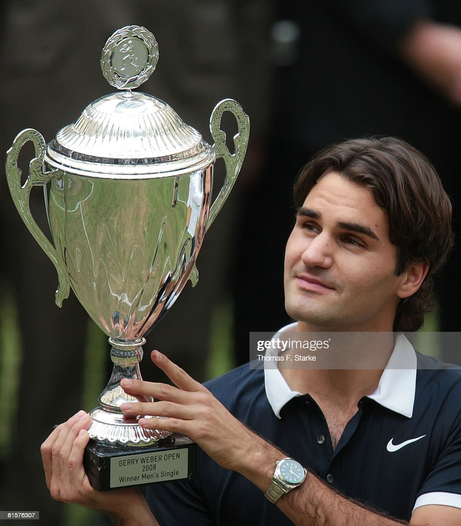 Roger Federer of Switzerland celebrates his victory over Philipp Kohlschreiber of Germany in the final match of the Gerry Weber Open on June 15 2008...