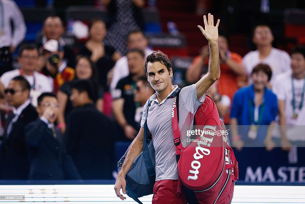 <a gi-track='captionPersonalityLinkClicked' href=/galleries/search?phrase=Roger+Federer&family=editorial&specificpeople=157480 ng-click='$event.stopPropagation()'>Roger Federer</a> of Switzerland celebrates his win against Andreas Seppi of Italy during day three of the Shanghai Rolex Masters at the Qi Zhong Tennis Center on October 9, 2013 in Shanghai, China.
