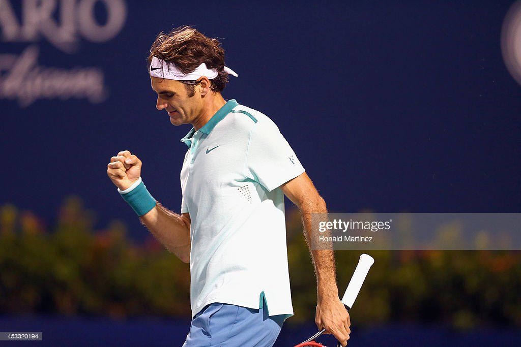 Roger Federer of Switzerland celebrates his win against Marin Cilic of Croatia during Rogers Cup at Rexall Centre at York University on August 7, 2014 in Toronto, Canada.