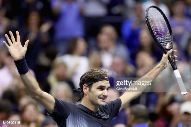 Roger Federer of Switzerland celebrates his win over Frances Tiafoe on Day Two of the 2017 US Open at the USTA Billie Jean King National Tennis...