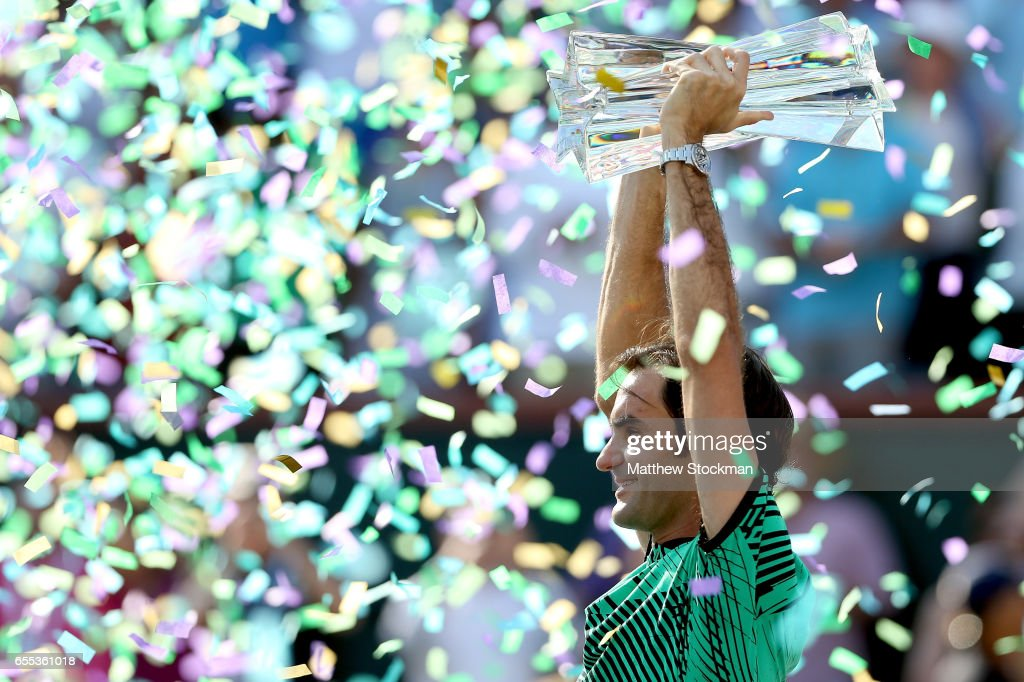 Roger Federer of Switzerland celebrates his win over Stan Wawrinka of Switzerland during the men's final of the BNP Paribas Open at the Indian Wells Tennis Garden on March 19, 2017 in Indian Wells, California.