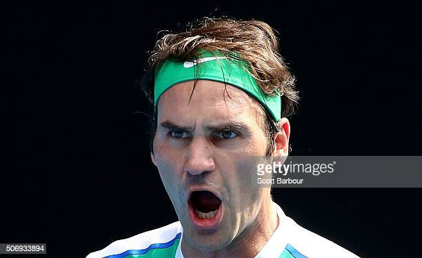 Roger Federer of Switzerland celebrates in his quarter final match against Tomas Berdych of the Czech Republic during day nine of the 2016 Australian...