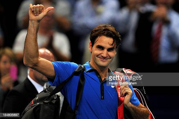 Roger Federer of Switzerland celebrates in his Swiss Indoors ATP Tennis quarterfinals match against Benoit Paire of France at St Jakobshalle on...