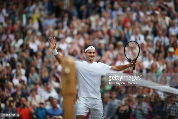 Roger Federer of Switzerland celebrates victory against Thomas Berdych of the Czech Republic in the Gentlemen's Singles Semifinal of the Wimbledon...