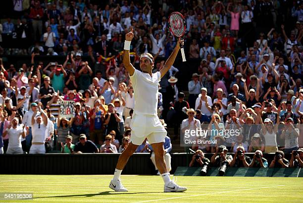 Roger Federer of Switzerland celebrates victory during the Men's Singles Quarter Finals match against Marin Cilic of Croatia on day nine of the...