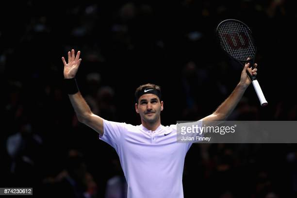 Roger Federer of Switzerland celebrates victory during the singles match against Alexander Zverev of Germany on day three of the Nitto ATP World Tour...