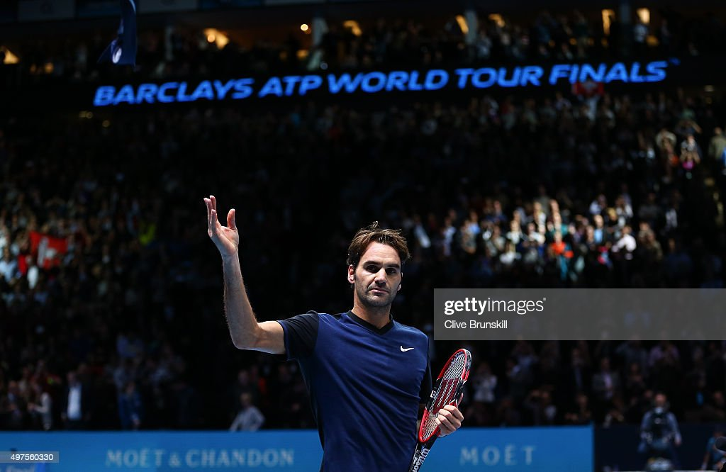 Roger Federer of Switzerland celebrates victory in his men's singles match against Novak Djokovic of Serbia during day three of the Barclays ATP World Tour Finals at the O2 Arena on November 17, 2015 in London, England.