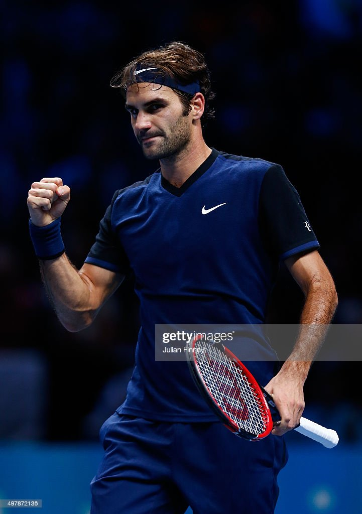 Roger Federer of Switzerland celebrates victory in his men's singles match against Kei Nishikori of Japan during day five of the Barclays ATP World Tour Finals at the O2 Arena on November 19, 2015 in London, England.