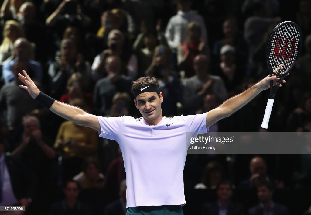 Roger Federer of Switzerland celebrates victory in his Singles match against Marin Cilic of Croatia during day five of the Nitto ATP World Tour Finals at O2 Arena on November 16, 2017 in London, England.