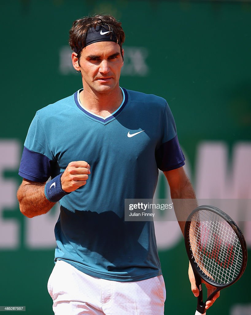 <a gi-track='captionPersonalityLinkClicked' href=/galleries/search?phrase=Roger+Federer&family=editorial&specificpeople=157480 ng-click='$event.stopPropagation()'>Roger Federer</a> of Switzerland celebrates winning a game against Lukas Rosol of Czech Republic during day five of the ATP Monte Carlo Rolex Masters Tennis at Monte-Carlo Sporting Club on April 17, 2014 in Monte-Carlo, Monaco.