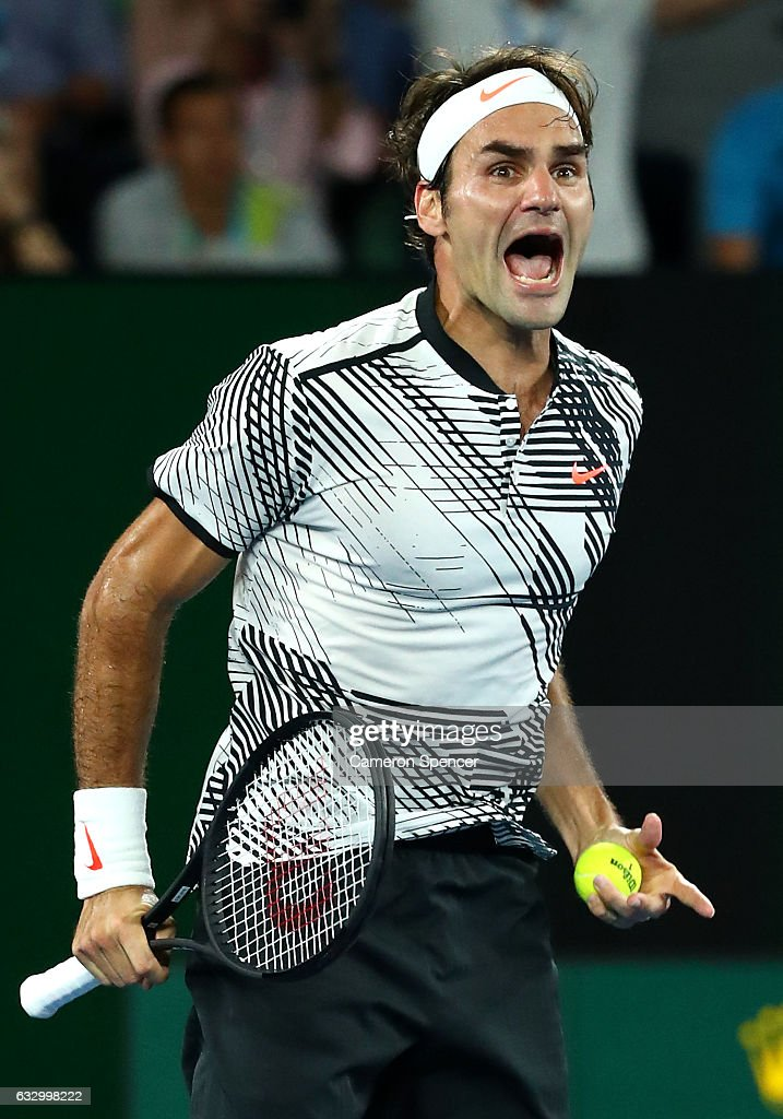 Roger Federer of Switzerland celebrates winning championship point in his Men's Final match against Rafael Nadal of Spain on day 14 of the 2017 Australian Open at Melbourne Park on January 29, 2017 in Melbourne, Australia.