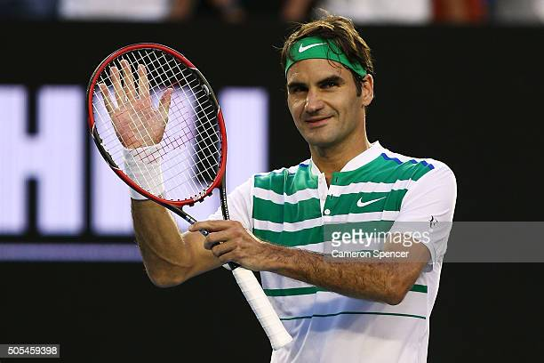 Roger Federer of Switzerland celebrates winning his first round match against Nikoloz Basilashvili of Georgia during day one of the 2016 Australian...
