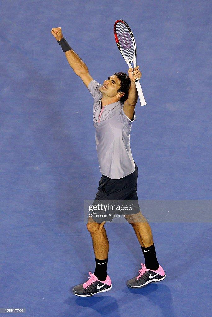 Roger Federer of Switzerland celebrates winning his Quarterfinal match against Jo-Wilfred Tsonga of France during day ten of the 2013 Australian Open at Melbourne Park on January 23, 2013 in Melbourne, Australia.