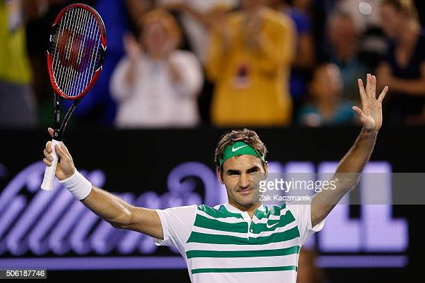 Roger Federer of Switzerland celebrates winning in his third round match against Grigor Dimitrov of Bulgaria during day five of the 2016 Australian...