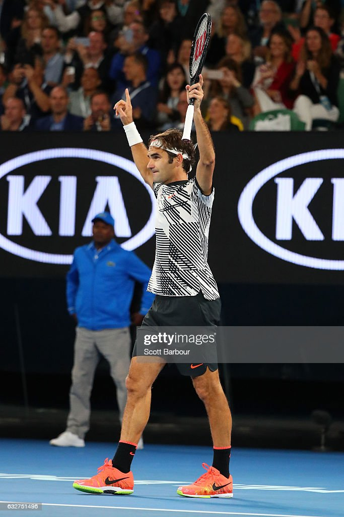 Roger Federer of Switzerland celebrates winning match point in his semifinal match against Stan Wawrinka of Switzerland on day 11 of the 2017 Australian Open at Melbourne Park on January 26, 2017 in Melbourne, Australia.