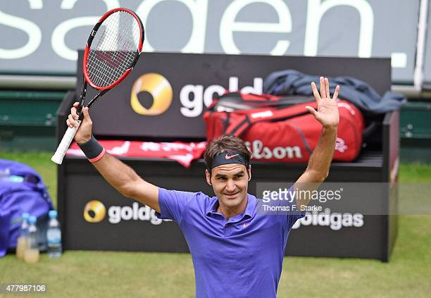 Roger Federer of Switzerland celebrates winning the final match against Andreas Seppi of Italy during the final day of the Gerry Weber Open at Gerry...