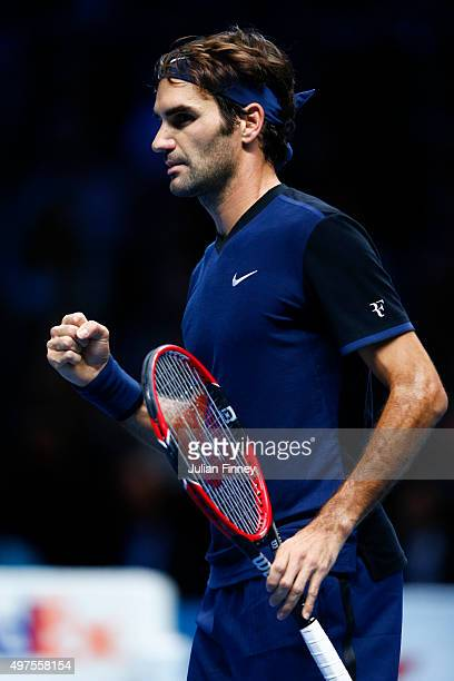 Roger Federer of Switzerland celebrates winning the first set in his men's singles match against Novak Djokovic of Serbia during day three of the...