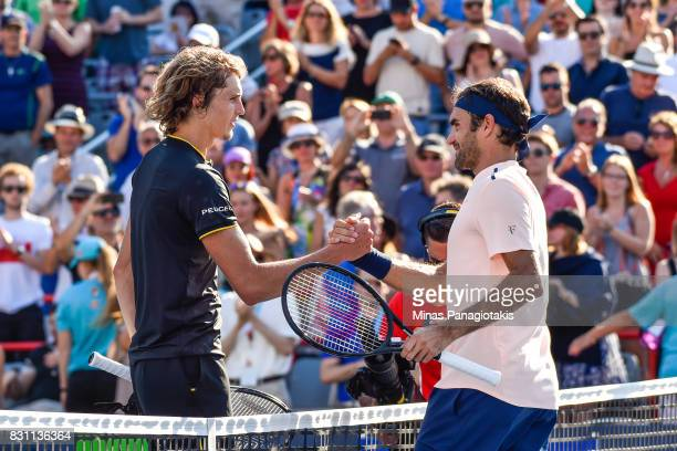 Roger Federer of Switzerland congratulates Alexander Zverev of Germany for his 63 64 victory during the final on day ten of the Rogers Cup presented...