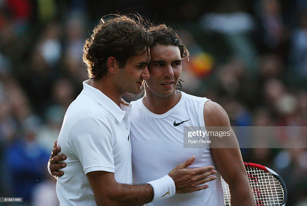 Roger Federer of Switzerland congratulates Rafael Nadal of Spain in winning match point and the Championship during the men's singles Final on day thirteen of the Wimbledon Lawn Tennis Championships at the All England Lawn Tennis and Croquet Club on July 6, 2008 in London, England.